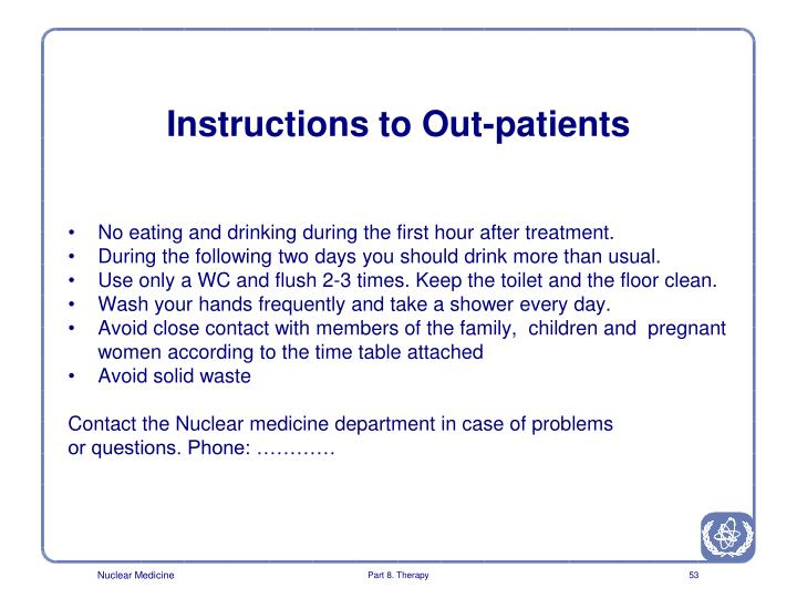 Instructions to Out-patients