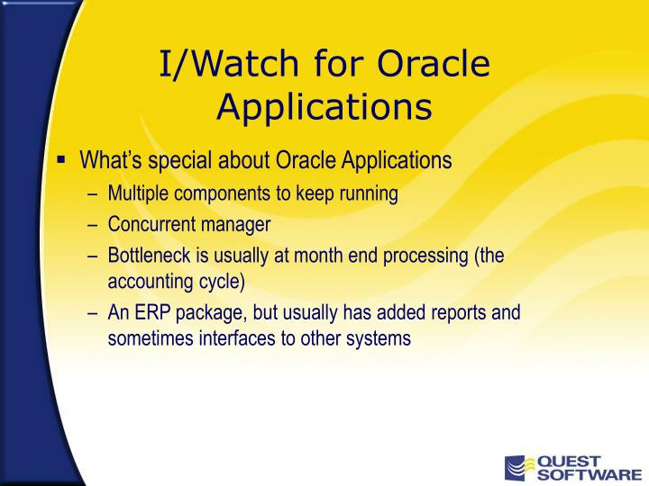 I/Watch for Oracle Applications