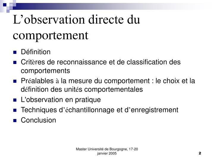 L observation directe du comportement