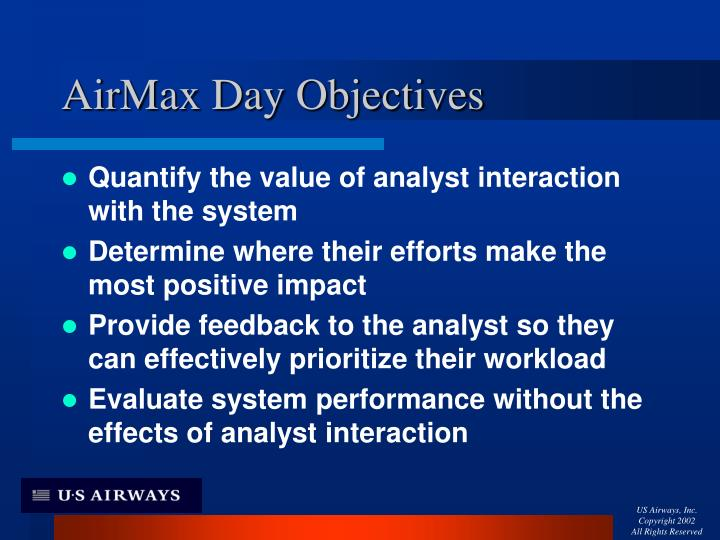 Airmax day objectives