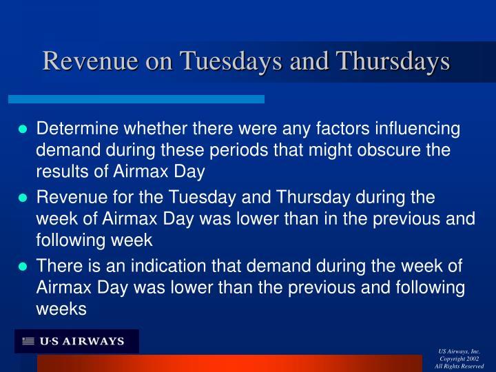Revenue on Tuesdays and Thursdays