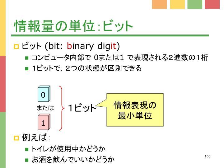 情報量の単位:ビット