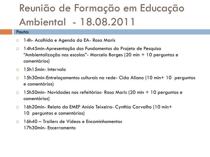 Reuni o de forma o em educa o ambiental 18 08 2011