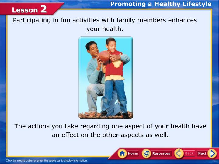 promotion of healthy lifestyle