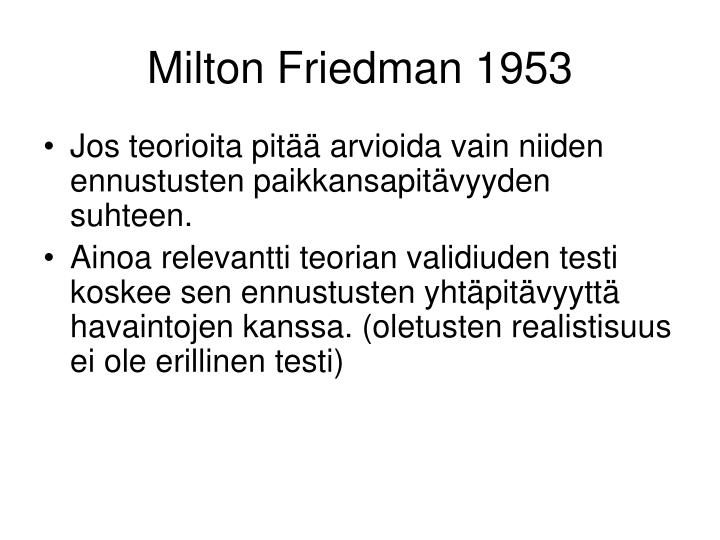 Milton friedman 1953