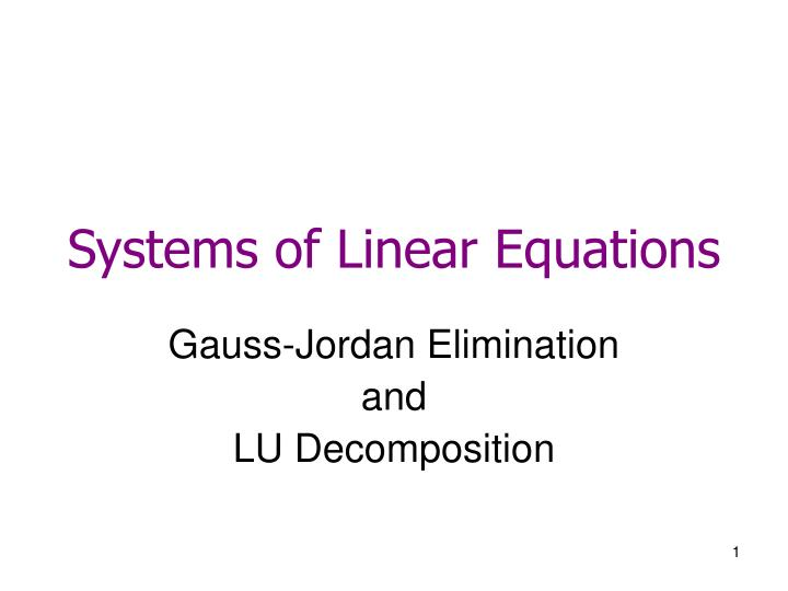 systems of linear equations n.