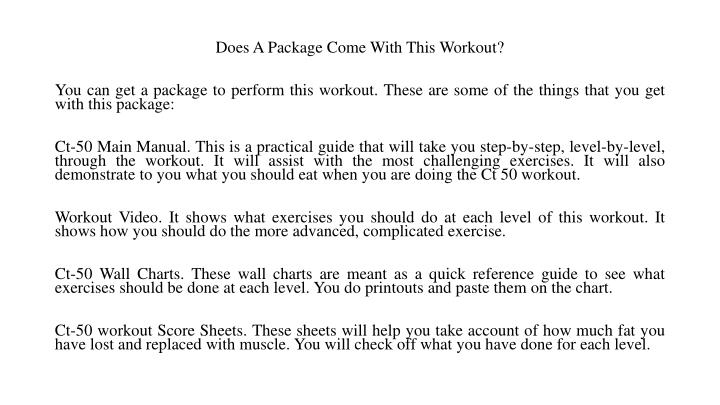 Does A Package Come With This Workout?