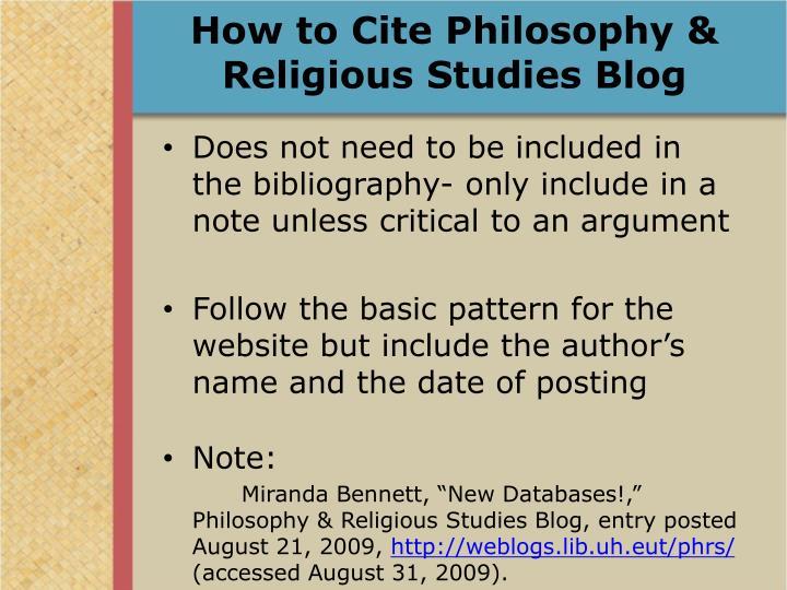 How to Cite Philosophy & Religious Studies Blog