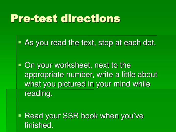 Pre test directions