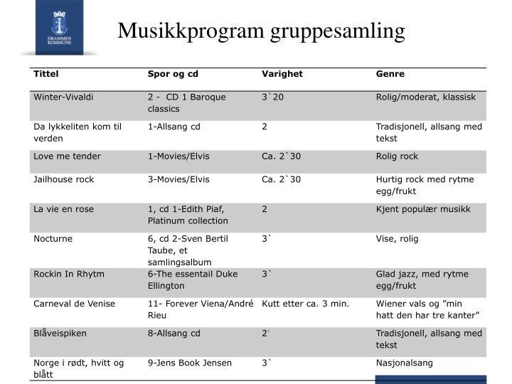 Musikkprogram gruppesamling