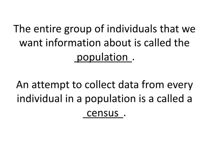 The entire group of individuals that we want information about is called the