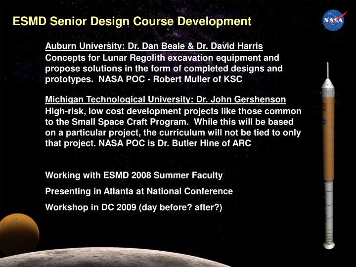 ESMD Senior Design Course Development