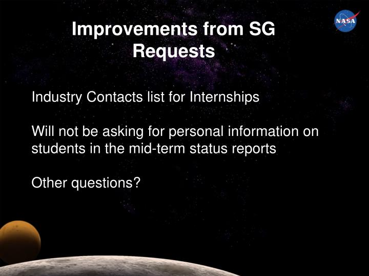 Improvements from SG Requests