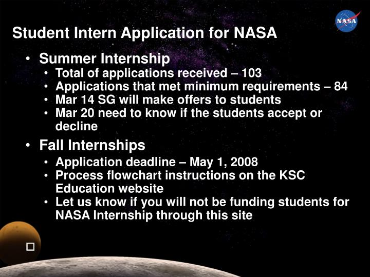 Student Intern Application for NASA