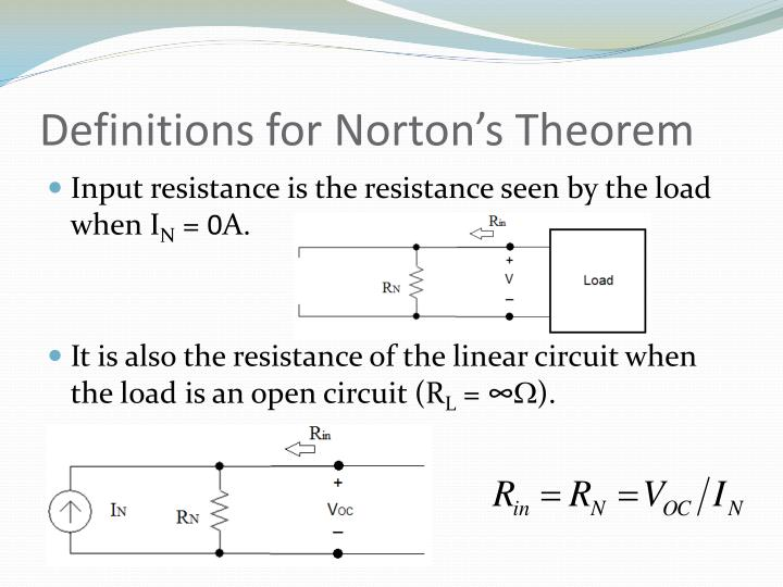 Definitions for Norton's Theorem