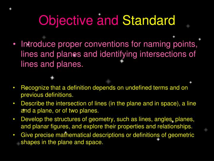 Objective and standard
