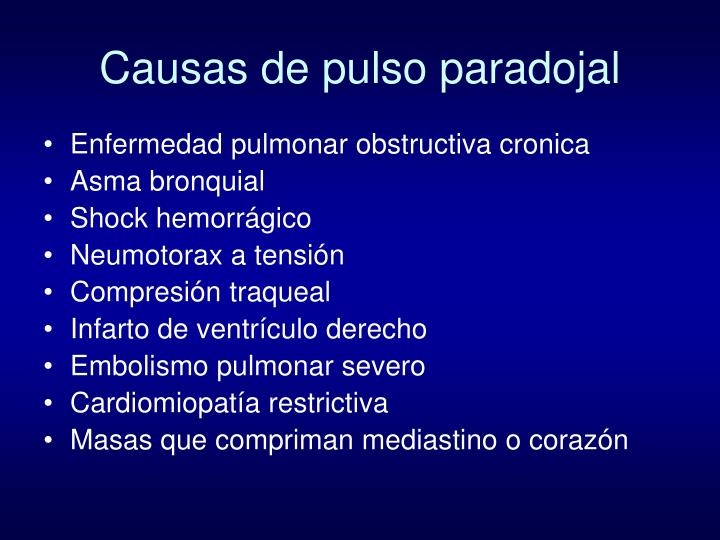 Causas de pulso paradojal