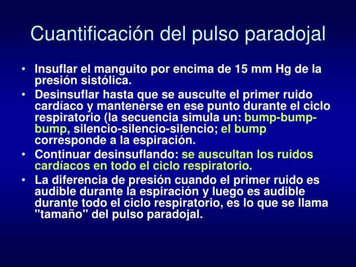 Cuantificación del pulso paradojal