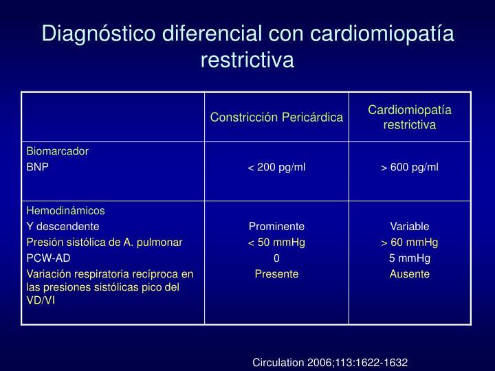 Diagnóstico diferencial con cardiomiopatía restrictiva