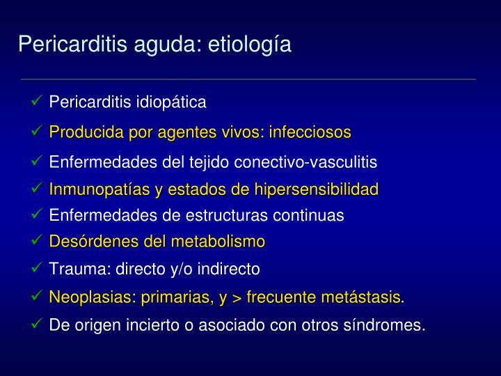 Pericarditis aguda: etiología