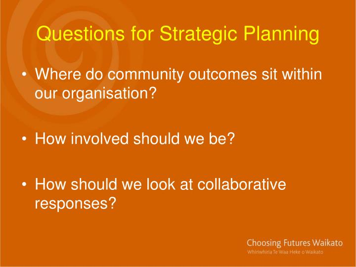Questions for Strategic Planning