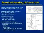 behavioral modeling of control unit