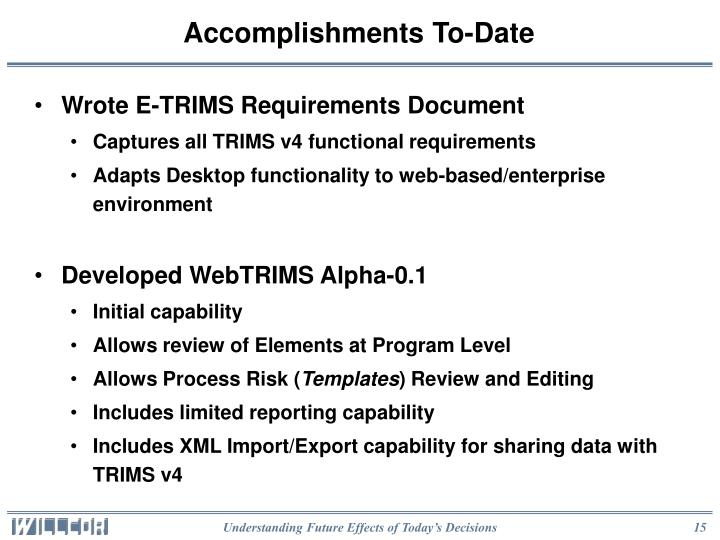 Accomplishments To-Date