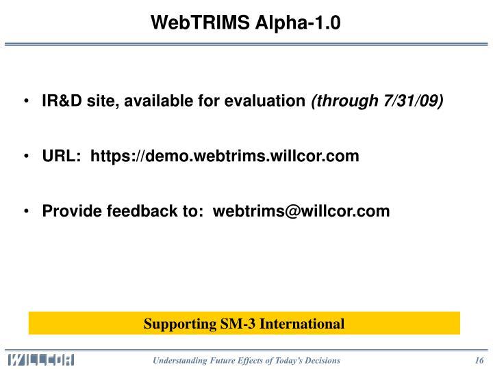 WebTRIMS Alpha-1.0