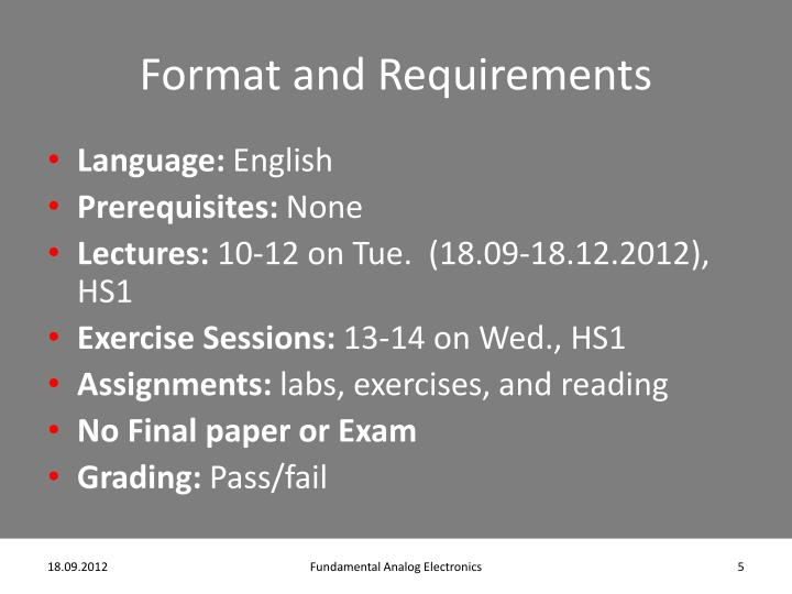 Format and Requirements