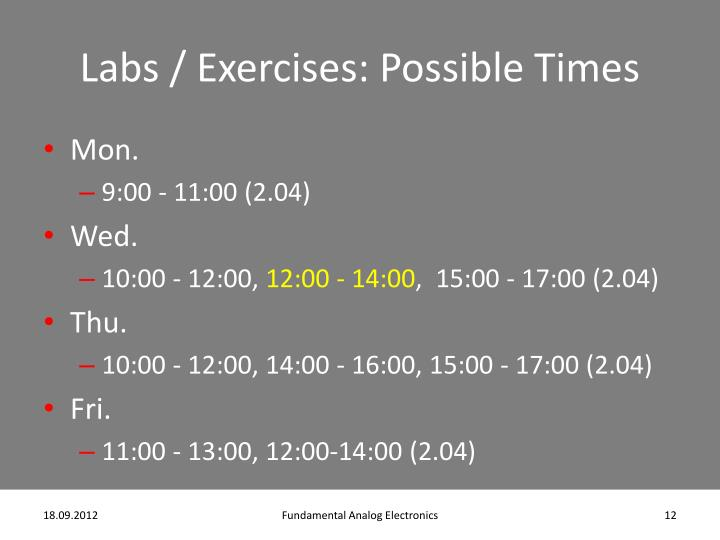 Labs / Exercises: Possible Times