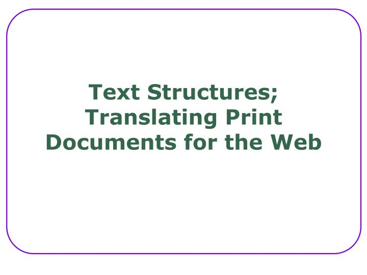 Text Structures;