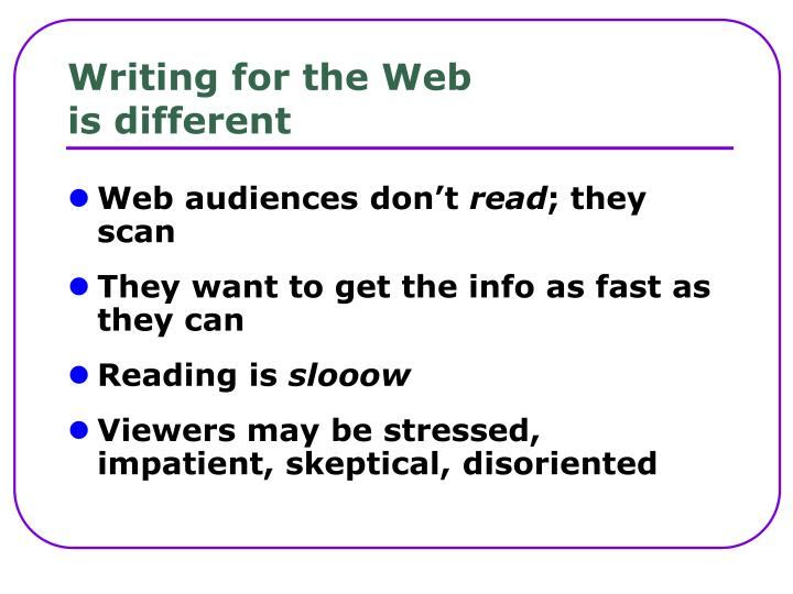 Writing for the web is different