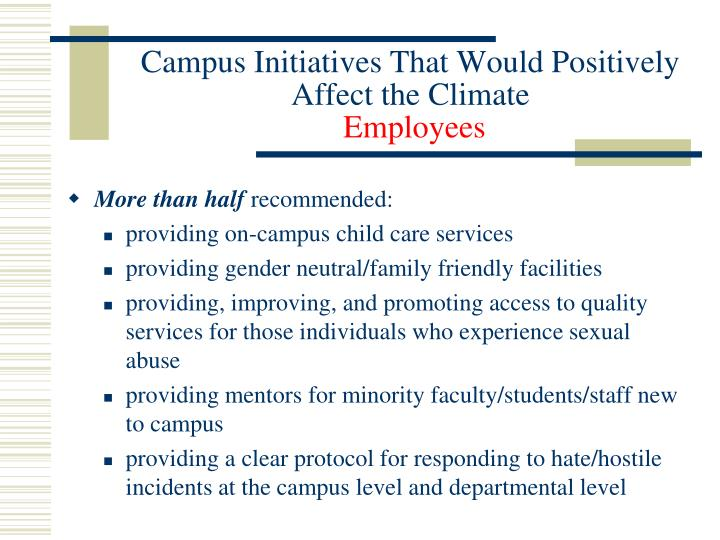 Campus Initiatives That Would Positively Affect the Climate