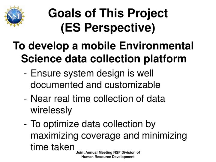 Goals of this project es perspective