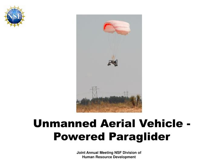 Unmanned Aerial Vehicle - Powered Paraglider