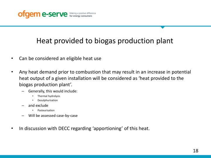 Heat provided to biogas production plant
