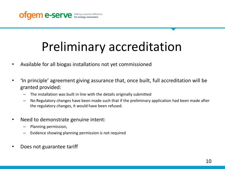 Preliminary accreditation