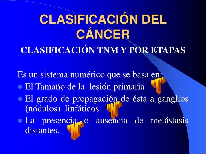 CLASIFICACIÓN DEL CÁNCER