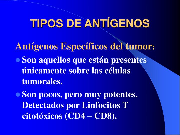 TIPOS DE ANTÍGENOS