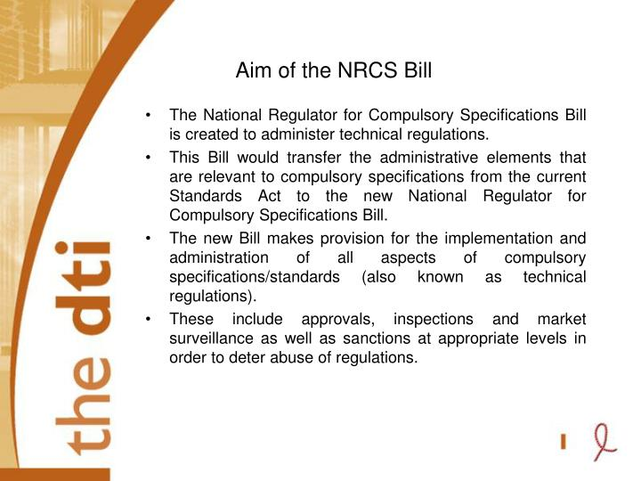 Aim of the NRCS Bill