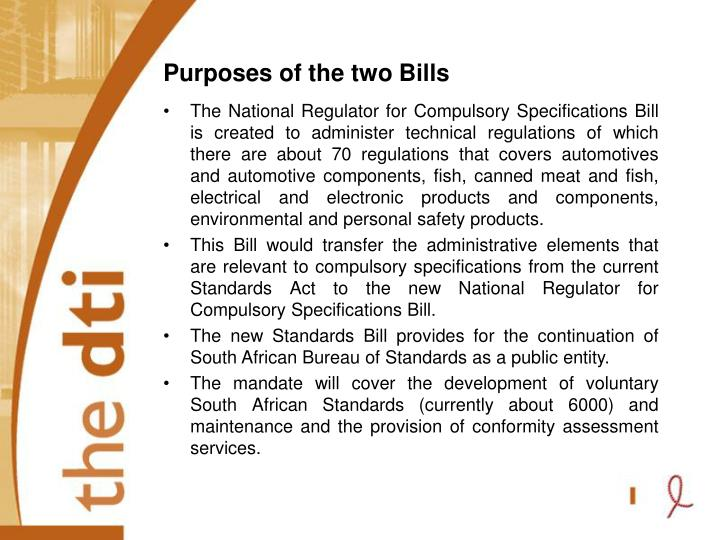 Purposes of the two Bills