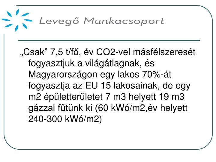 """""""Csak"""" 7,5 t/fő, év CO2-vel másfélszeresét fogyasztjuk a világátlagnak, és Magyarországon egy lakos 70%-át fogyasztja az EU 15 lakosainak, de egy m2 épületterületet 7 m3 helyett 19 m3 gázzal fűtünk ki (60 kWó/m2,év helyett 240-300 kWó/m2)"""