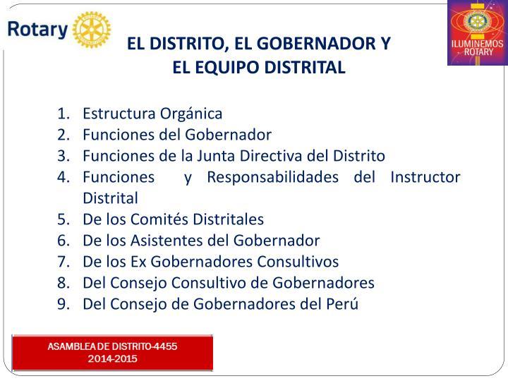 EL DISTRITO, EL GOBERNADOR Y