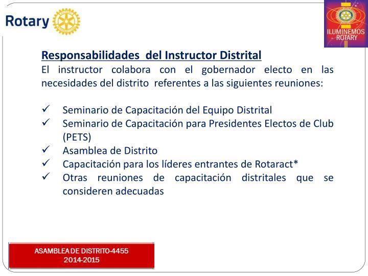 Responsabilidades  del Instructor Distrital