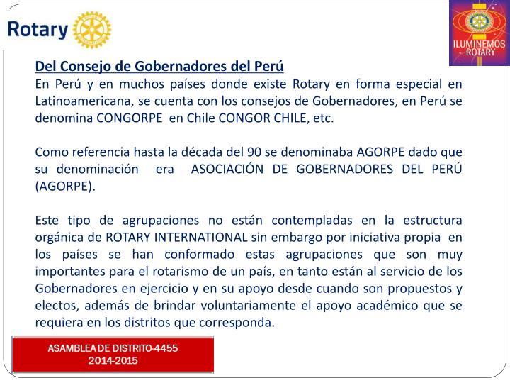 Del Consejo de Gobernadores del Perú