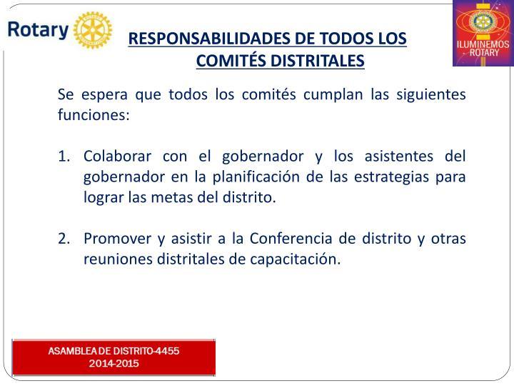RESPONSABILIDADES DE TODOS LOS COMITÉS DISTRITALES