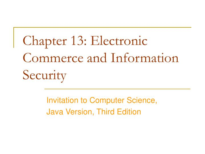 chapter 13 electronic commerce and information security n.