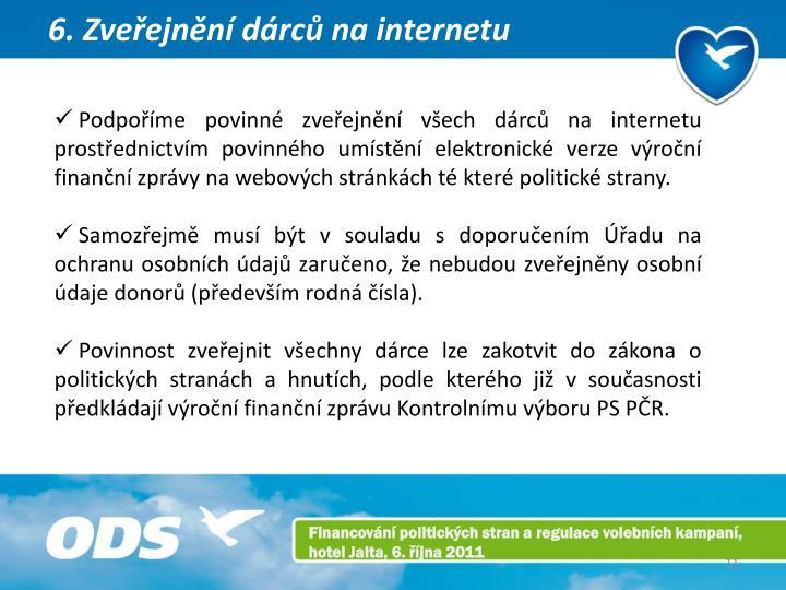6. Zveřejnění dárců na internetu