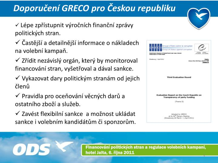 Doporučení GRECO pro Českou republiku