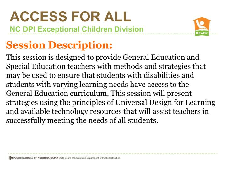 Access for all nc dpi exceptional children division1